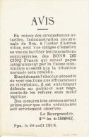 Guerre 14-18 - Affichette - SPA 28 ao�t 1914 : avis du Bourgmestre : �mission de BONS DE CINQ Francs (BILLETS COMMUNAUX)