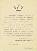 Guerre 14-18 - Affichette - SPA 31 ao�t 1914 : avis du Bourgmestre : bons de r�quisition sont � remettre au secr�tariat
