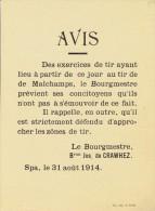 Guerre 14-18 - Affichette - SPA 31 ao�t 1914 : avis du Bourgmestre : interdiction de s�approcher du tir de Malchamps