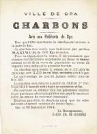 Guerre 14-18 - Affiche - SPA 30 septembre 1914 - Avis du Bourgmestre : vente de charbons au prix de 3fr.50 les cents kil