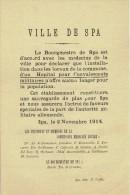 Guerre 14-18 - Affiche - SPA 2 novembre 1914 -Avis du Bourgmestre concernant l�installation d�un Hopital pour militaires