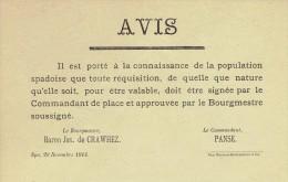 Guerre 14-18 - Affichette - SPA 20 novembre 1914 - Avis : toute r�quisition doit �tre sign�e par le commandant de place