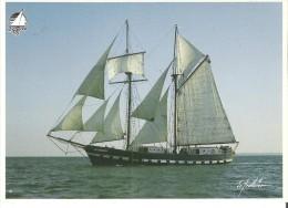 """Quebec 87 Jacques-Cartier (France) Brick-goelette Deux -mats, Construit A Cuxhaven, Allemagn 6.6"""" X 5""""   17 Cm X 12.5 Cm - Segelboote"""