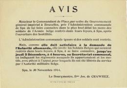 Guerre 14-18 - Affiche - SPA 30 novembre 1914 - Obligation des soldats de l�arm�e belge rentr�s de se faire conna�tre