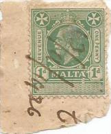 Malta 1926 King GV 1d Revenue Stamp On Paper - Malta