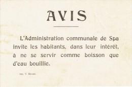 Guerre 14-18 - Affichette - SPA - Conseil de l�administration communale de faire bouillir l�eau avant consommation