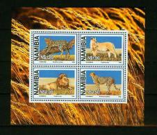 Namibia 1998,4V In Block,panter,lion,leeuw,l Eopard,luipaard,löwe,leop Ardo,lion,león,leone,,MNH /Po Stfris,(E4247) - Roofkatten