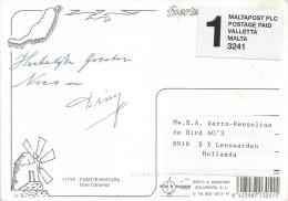 Malta Postage Paid Permit 3241 On Viewcard Canary Islands To Holland. Brief Period Air Malta Cheap Transport Postage - Malta