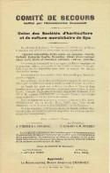 Guerre 14-18 - Affiche - COMITE DE SECOURS institu� par l�Admin. Com. de SPA - Union des Soci�t�s de culture mara�chaire