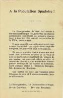Guerre 14-18 - Affiche -Avis du Bourgmestre de SPA & du Commandant d��tape Bon VON TROSCHKE : prise d�otage journali�re
