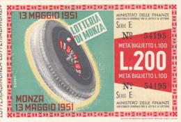 MONZA LOTTERY TICKET, TYRE, ROULETTE, 200 LIRAS, 1951, ITALY - Billets De Loterie
