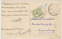 01869 CP FRANCHISE MILITAIRE - France Trésors Et Poste*17* 1919 Taxée 10 En Bleu V.Luxembourg Taxée Par TTx 10 C. 1869 - Postage Due