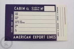 American Export Lines Blue -  Airlines Label - Original Luggage Airline Label - Sticker - Etiquetas De Equipaje