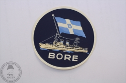 Vintage Label BORE Cruise Line Flag Steamer Ship - Original Luggage Maritime/ Boat Label - Sticker - Barcos