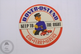 Dover Osten Car Ferry Service Label- Original Boat Luggage Label - Sticker - Barcos