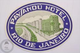 Payasandu Hotel, Rio De Janeiro - Brasil - Original Hotel Luggage Label - Sticker - Hotel Labels