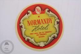 Hotel Normandy - Belo Horizonte - Brasil - Original Hotel Luggage Label - Sticker - Hotel Labels