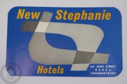 Hotel New Stephanie - Berea, Johannesburg - Original Hotel Luggage Label - Sticker - Hotel Labels