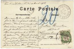 01861 CP France Non Affr.de Contrexeville Gff T V.Luxembourg Taxée 20 En Bleu Et Par TTx 20c C.Luxembourg Càp - Postage Due