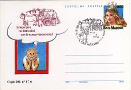 San Marino 1999 Annullo Vite E Vino Su Cartolina Postale Repiquage - Enteros Postales