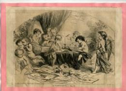 - LA SAINT VALENTIN . GRAVURE SUR BOIS DU XIXe S . DECOUPEE ET COLLEE SUR PAPIER . - Saisons & Fêtes