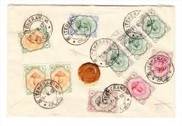 Gesiegelter R-Brief 1913  Mi#317 U.a. Ab Teheran Nach Genf CH Mit AK-Stempel - Iran