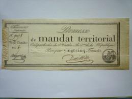 Promesse De  MANDAT  TERRITORIAL  De  25  FRANCS - Assignats & Mandats Territoriaux