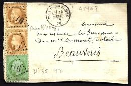 DEVANT DE LETTRE CLASSIQUE AVEC RARE EMPIRE N° 35 5ct VERT-PÂLE ET PAIRE N° 28 TII DE  FVR. 1872- - Postmark Collection (Covers)