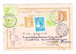 1945 Türk. Ganzsache Mit Zusatzfrankatur Von UMURBEY über St Gallen Nach Bern Brit. Zensur. - 1921-... Republiek