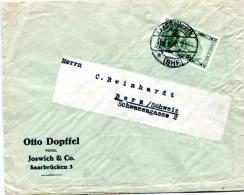 S4 Sarre Saargebiet  Lettre Pour L´étranger Avec Mi112 - 1920-35 Società Delle Nazioni