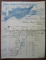 FATTURA FABRICA DE SOMBREROS DE PAJA Y FIELTRO PABLO MORALES MADRID SPAGNA ANNO 1906 - Spagna