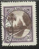 VATICANO VATICAN VATIKAN 1933 GIARDINI E MEDAGLIONI CENT. 50 TIMBRATO USED OBLITERE - Vatican