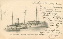 Dép 33 - Bateaux De Guerre - Arcachon - Navire De Guerre Dans Le Bassin - état - Arcachon