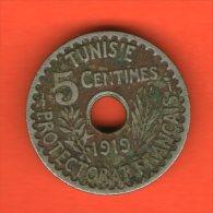 ** 5 Centimes AH1337 1919 PROTECTORAT FRANCAIS ** - KM 242 - Ni-Bro 3gr. 19mm - TUNISIA / TUNESIA / TUNESIEN - Túnez