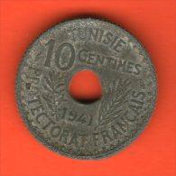 ** 10 Centimes AH1360 1941 PROTECTORAT FRANCAIS ** - KM 267 - Zinc 2,7gr. 21mm - TUNISIA / TUNESIA / TUNESIEN - Túnez