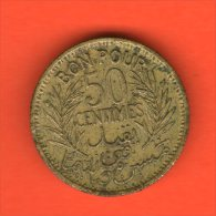 ** 50 Centimes AH1364 1945 BON POUR ** - KM 246 - Alu-Bro 2gr. 18mm - TUNISIA / TUNESIA / TUNESIEN - Túnez