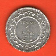 ** 1 Franc AH1335 1917 ** - KM 238 - Plata AG Silver 5gr. 23mm - TUNISIA / TUNESIA / TUNESIEN - Túnez