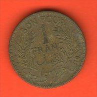 ** 1 Franc AH1360 1941 BON POUR ** - KM 247 - Alu-Bro 4gr. 23mm - TUNISIA / TUNESIA / TUNESIEN - Túnez