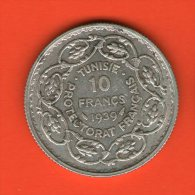 ** 10 Francs AH1358 1939 ** - KM 265 - Plata AG Silver 10gr. 28mm - TUNISIA / TUNESIA / TUNESIEN - Túnez