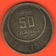 ** 50 Francs AH1370 1950  ** - KM 275 - Cu-Ni  8gr. 28mm - TUNISIA / TUNESIA / TUNESIEN - Túnez