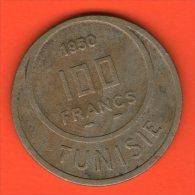 ** 100 Francs AH1370 1950  ** - KM 276 - Cu-Ni  12,1gr. 31mm - TUNISIA / TUNESIA / TUNESIEN - Túnez