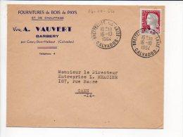 1964 - Cachet à Date Manuel Recette Bretteville Sur Laize Sur Décaris N° 1263 Entète Bois De Pays A. Vauvert Barbery - 1961-....