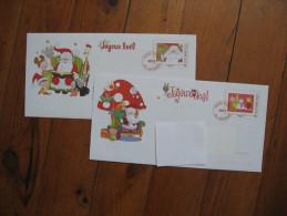 Lot De 2 Enveloppes Décorées, Avec Faux Timbres De Noël - Old Paper