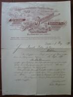 FATTURA  AUSSCHLIESSLICHE FABRIKATION F. BURGMANN DRESDEN BODENBACH A/ ELBE LODZ BUDAPEST ANNO 1899 - Austria