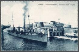 "1911ca TARANTO L'ESPLORATORE ""MARSALA"" ATTRAVERSA IL CANALE NAVIGABILE FP NV SEE 2 SCANS ANIMATA BATTLESHIP WW1 - Taranto"