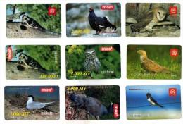 Lot 9 Mobitel Cards,Birds,Slovenia? - Uccelli