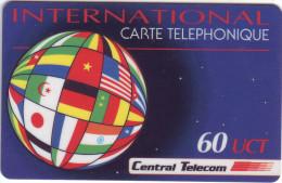 """***Télécarte Prépayée CENTRAL TELECOM """"DRAPEAUX """"  60UCT Vide TTB N° Lot A076000948 A Saisir ***  New** - Prepaid-Telefonkarten: Andere"""