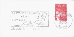 FRANCE. FRAGMENT POSTMARK. OULLINS. FLOWER. FLAMME - Marcofilia (sobres)