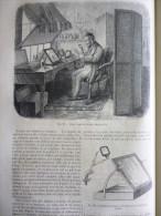 Photographie , Cabinet Pour La Retouche Des Négatifs , Gravure De 1863 Avec Texte / 2 Pages - Documents Historiques