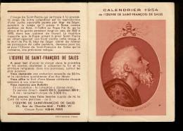 CALENDRIERS 1954 Oeuvre De Saint  François De Salles  . - Petit Format : 1921-40